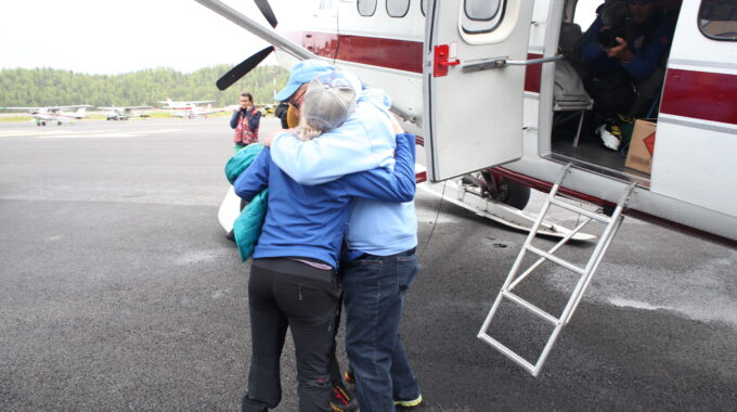 Emotional Farewell Before Take Off